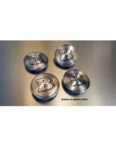 BRABUS Nabendeckel für Smart Alufelgen mit Logo silber / schwarz für Smart 450/451/452