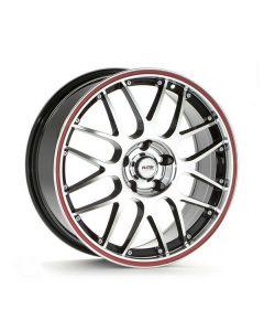 Felgensatz P61 schwarz - Front poliert / Felgenhorn poliert / roter Rand Smart 453