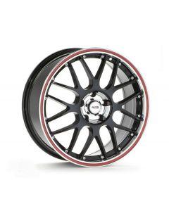 Komplettradsatz P61 schwarz / Felgenhorn poliert / Rand rot m. Bereifung Smart 453